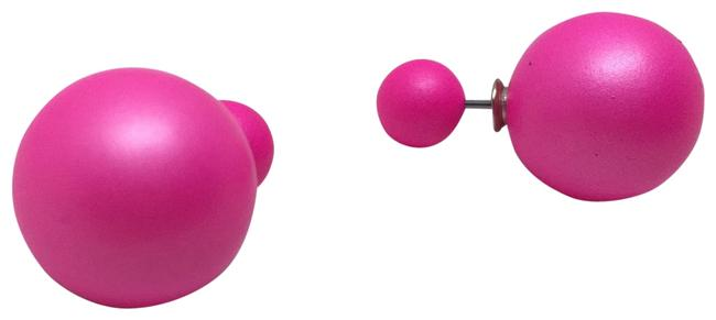 Unbranded Hot Pink Double Ball Earrings Unbranded Hot Pink Double Ball Earrings Image 1