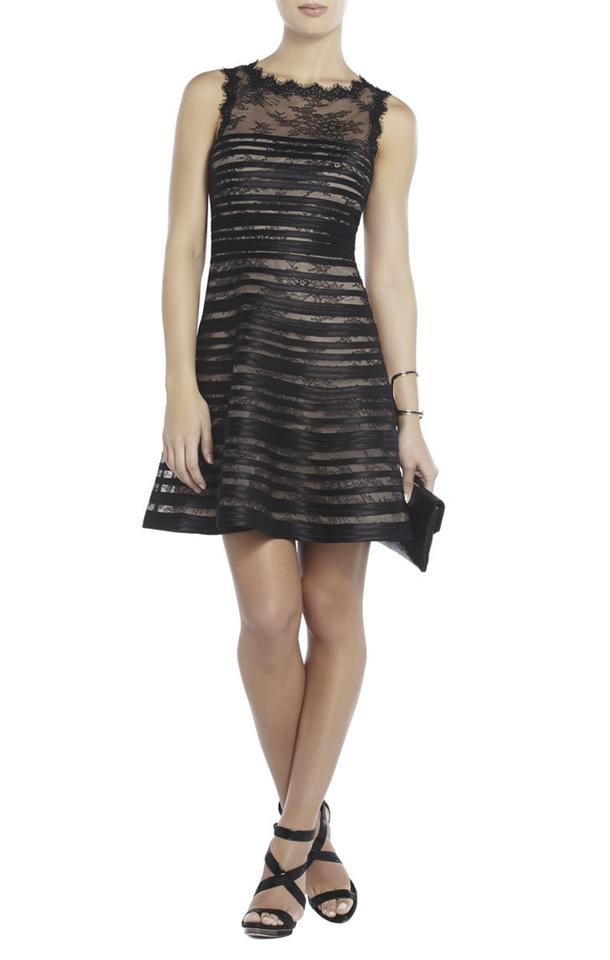 Bcbgmaxazria Black Bcbg Max Azria New Jacqueline Stripe And Lace A Line Mid Length Tail Dress Size 10 M 74 Off Retail