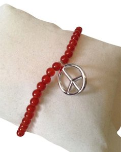 Other Red Agate Gemstone Stretch Peace Sign Bracelet
