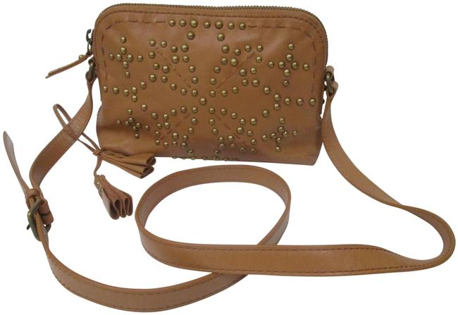 Item - Studded Shoulder Butterscotch Leather Cross Body Bag