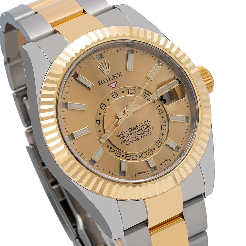 Rolex Champagne Sky,dweller 326933 42mm Dial with Two Tone Oyster Watch