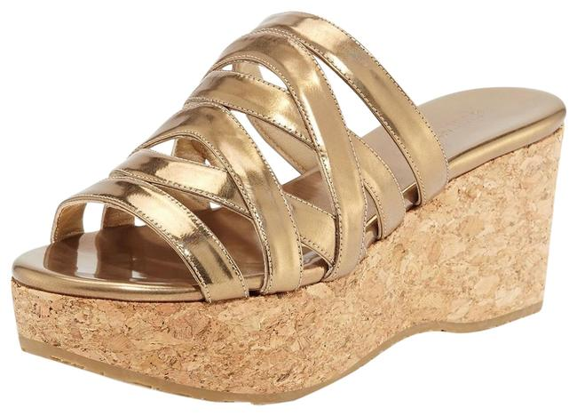 Jimmy Choo Antique Gold Nita Strappy Cork Wedge Slide Sandals Size EU 40 (Approx. US 10) Regular (M, B) Jimmy Choo Antique Gold Nita Strappy Cork Wedge Slide Sandals Size EU 40 (Approx. US 10) Regular (M, B) Image 1
