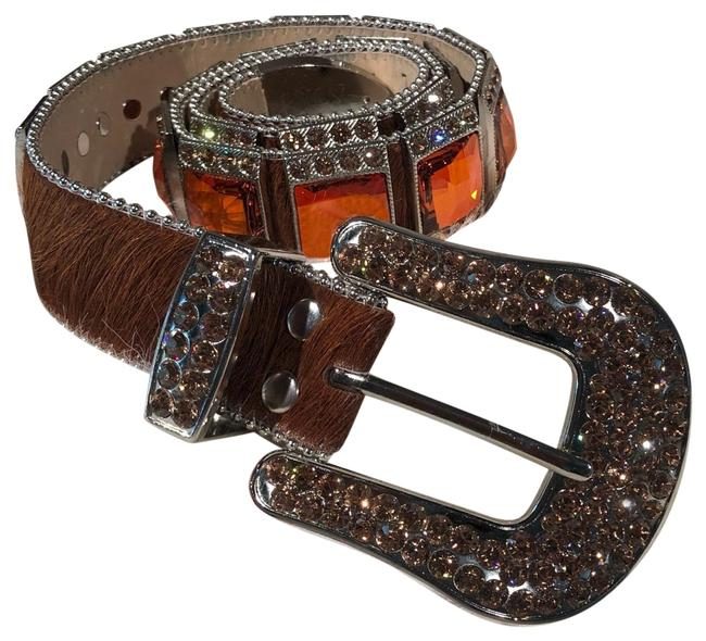 B.B. Simon Orange Fully Big Block Swarovski Monster Belt B.B. Simon Orange Fully Big Block Swarovski Monster Belt Image 1