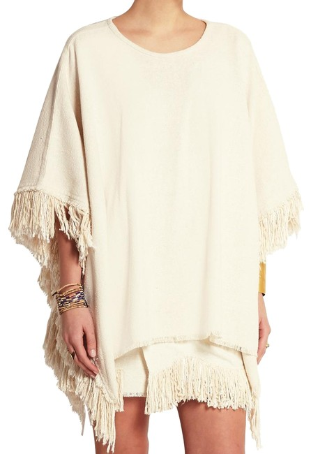 Preload https://img-static.tradesy.com/item/25281122/isabel-marant-ecru-fringed-woven-silk-ponchocape-size-4-s-0-1-650-650.jpg