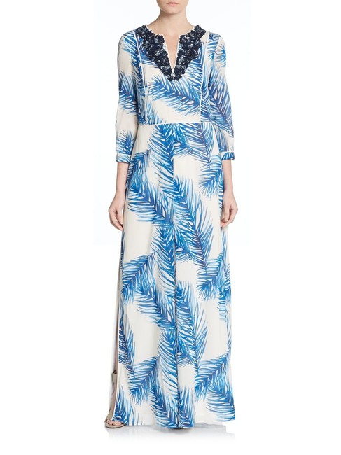 Preload https://img-static.tradesy.com/item/25281182/tory-burch-blue-and-white-silk-embellished-v-neck-long-casual-maxi-dress-size-12-l-0-0-650-650.jpg
