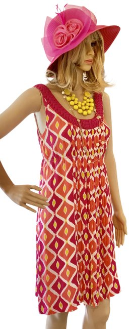 Tory Burch Clearance----pink Orange Signature Print- Mid-length Cocktail Dress Size 4 (S) Tory Burch Clearance----pink Orange Signature Print- Mid-length Cocktail Dress Size 4 (S) Image 1