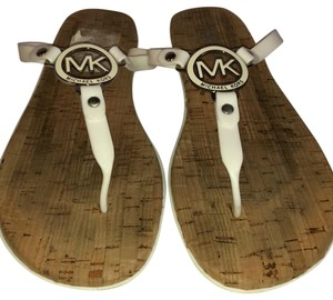 White Michael Kors Sandals Flat Up to