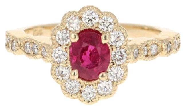 Yellow Gold 1.70 Carats Natural Red Ruby and Diamond 14k Solid Ring Yellow Gold 1.70 Carats Natural Red Ruby and Diamond 14k Solid Ring Image 1