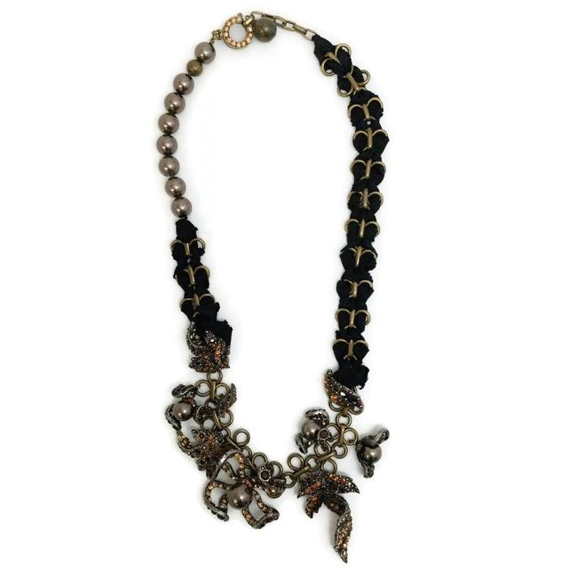 Lanvin Antiqued Bronze Pearl and Rhinestone Necklace Lanvin Antiqued Bronze Pearl and Rhinestone Necklace Image 1