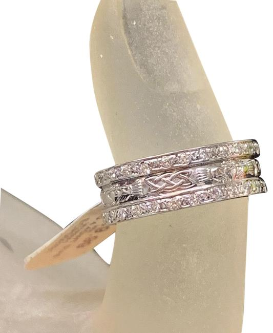 White Gold Classic Claddagh Diamond 14k Band Ring White Gold Classic Claddagh Diamond 14k Band Ring Image 1