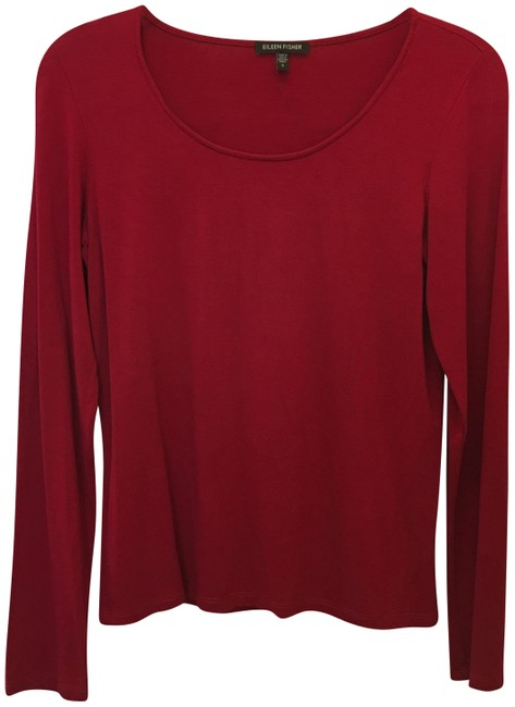 Preload https://img-static.tradesy.com/item/25281507/eileen-fisher-red-tee-shirt-size-6-s-0-1-650-650.jpg