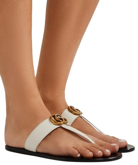 c4323f6ebd2 Gucci Marmont Logo-embellished Leather Sandals Size EU 35.5 (Approx ...