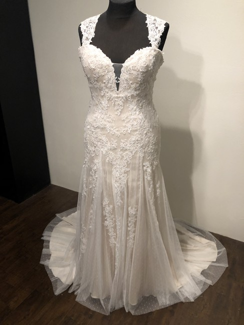 Casablanca Champagne/Ivory/Silver Dotted Netting Satin 2247 Orchid Formal Wedding Dress Size 14 (L) Casablanca Champagne/Ivory/Silver Dotted Netting Satin 2247 Orchid Formal Wedding Dress Size 14 (L) Image 1