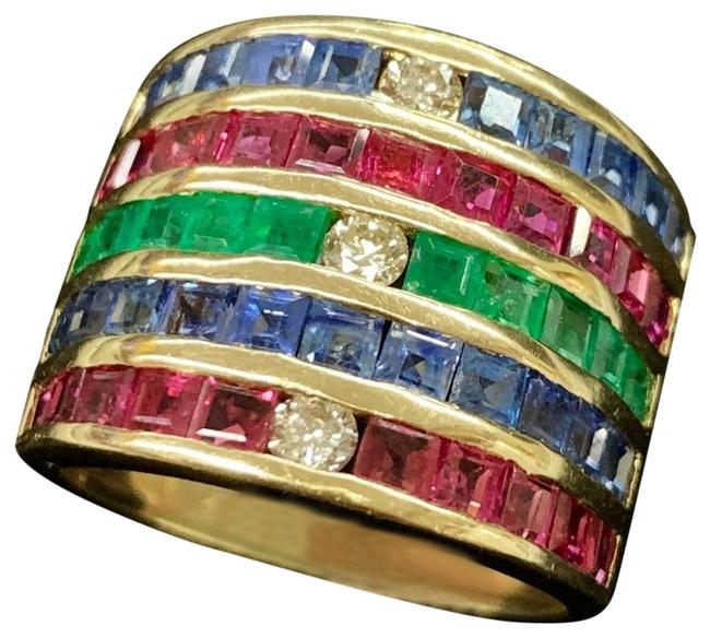 Yellow Gold Genuine Emerald Sapphire Ruby and Diamond Thick 7 Ring Yellow Gold Genuine Emerald Sapphire Ruby and Diamond Thick 7 Ring Image 1