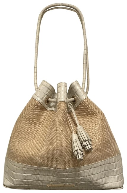 Brahmin Bucket Trina Woven Rattan Drawstring Beige White Gray Multi Canvas Leather Tote Brahmin Bucket Trina Woven Rattan Drawstring Beige White Gray Multi Canvas Leather Tote Image 1