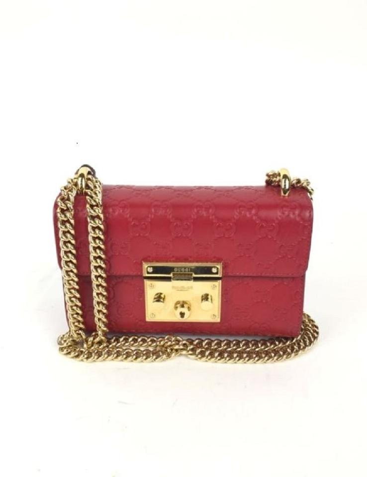 c7516d7ec82f8 Gucci Padlock Small Signature Red Leather Shoulder Bag - Tradesy
