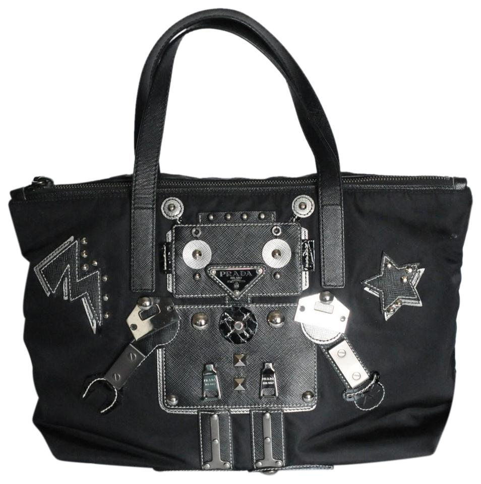eef7dceae5f1d6 Prada Robot Limited Edition Saffiano Leather Black Nylon Cross Body ...