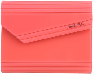 Jimmy Choo Lacquered Neon Acrylic pink Clutch