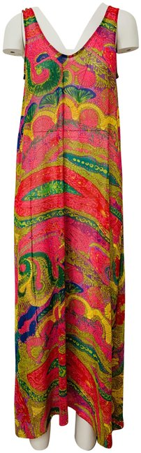 Item - Pink Green Yellow Nola Paisley Print Sheer Coverup Long Casual Maxi Dress Size 8 (M)