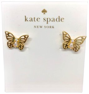 Kate Spade Kate Spade Social Butterfly Crystal Gold Stud Earrings
