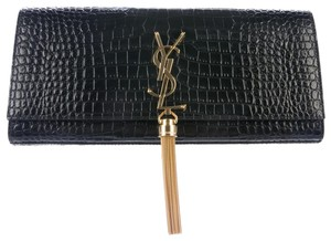 Saint Laurent Embossed Leather Black Clutch