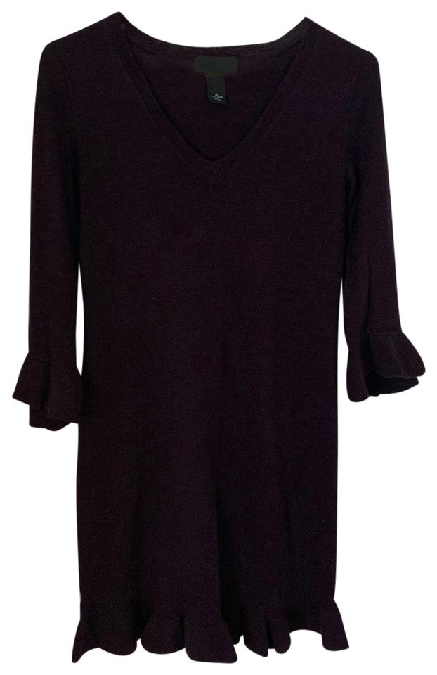2f6f4cc081e Cynthia Rowley Purple Ruffle Sweater Mid-length Short Casual Dress ...