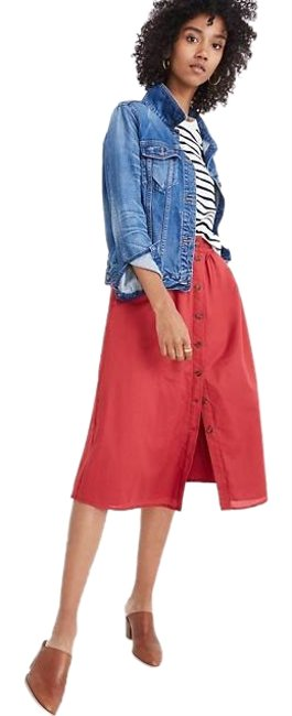 Item - Red Berry Palisade Button-front Skirt Size 10 (M, 31)
