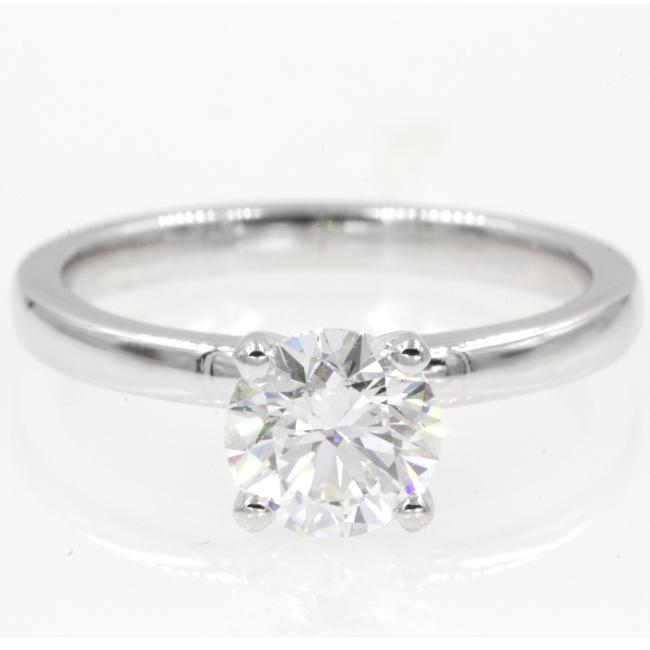 14k White Gold .91 Carat Round Cut Classic Solitaire Engagement Ring 14k White Gold .91 Carat Round Cut Classic Solitaire Engagement Ring Image 1