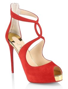 Christian Louboutin Stiletto Classic Choca Crisscross Strap Ankle Strap red Pumps