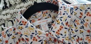 Joe Fresh Print Chiffon Longsleeve Chic Button Down Shirt Multi floral navy orange yellow cream beige