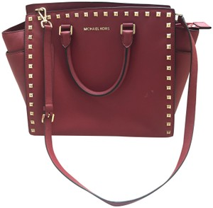 Michael Kors Leather Studded Structured Tote in Red