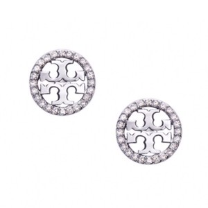 Tory Burch Tory Burch • Silver Crystal Circle Logo Earrings