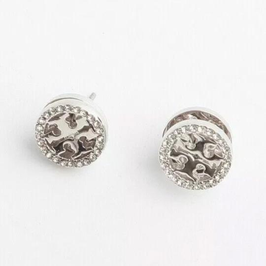 Tory Burch Tory Burch * Silver Crystal Circle Logo Earrings Image 3