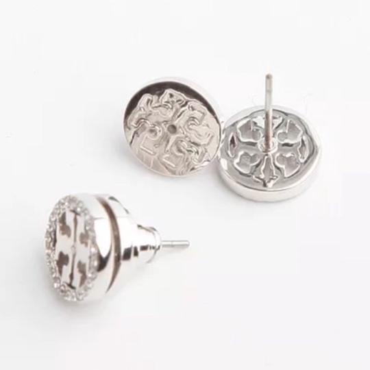 Tory Burch Tory Burch * Silver Crystal Circle Logo Earrings Image 4