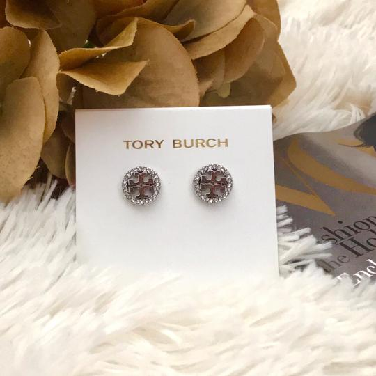 Tory Burch Tory Burch * Silver Crystal Circle Logo Earrings Image 5