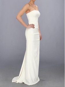 Nicole Miller Bridal Antique White Silk Strapless Pintucked Crepe Gown Dg0022 0 Feminine Wedding Dress Size 0 (XS)