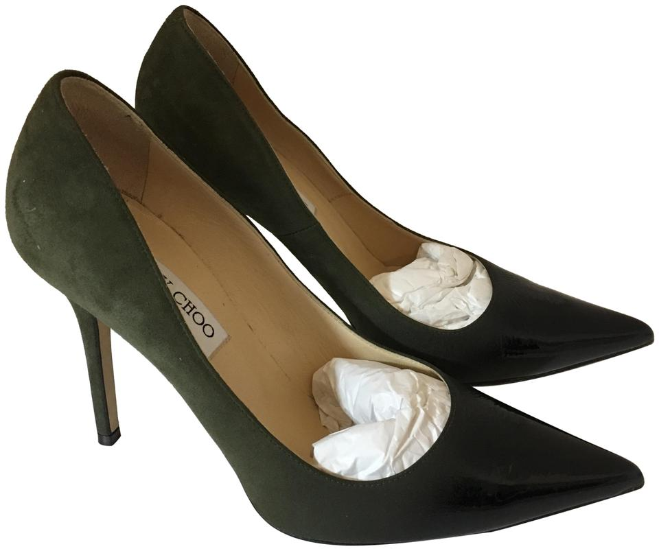 6dc5b9b9b6 Jimmy Choo Olive Ombre 38419 Suede To Black Patent Leather Pumps. Size: EU  38.5 ...