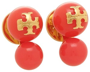 Tory Burch (New) Tory Burch Orange and Gold,Crystal Pearl Earrings