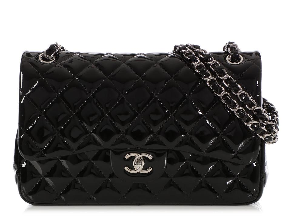 2f8afbaa8abf Chanel Double Flap Classic Jumbo Black Patent Leather Shoulder Bag ...