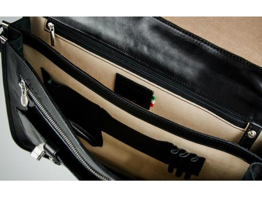 Time Resistance Leather Briefcase Brown Briefcase Laptop Bag Image 8