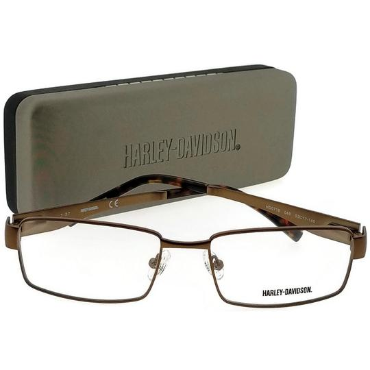 Harley Davidson HD0718-048-53 Square Men's Brown Frame Clear Lens Eyeglasses Image 4