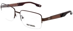 Harley Davidson HD0724-008-55 Rectangle Men's Brown Frame Clear Lens Eyeglasses