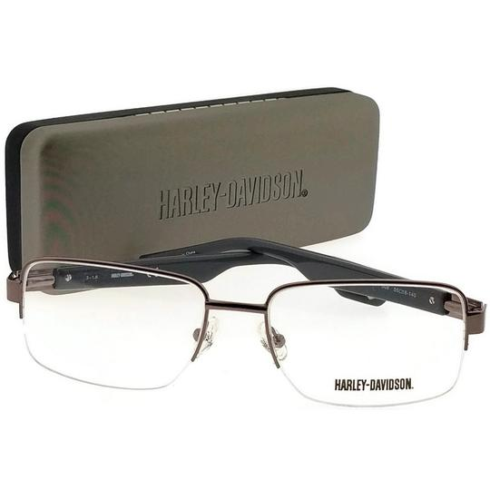 Harley Davidson HD0724-008-55 Rectangle Men's Brown Frame Clear Lens Eyeglasses Image 4