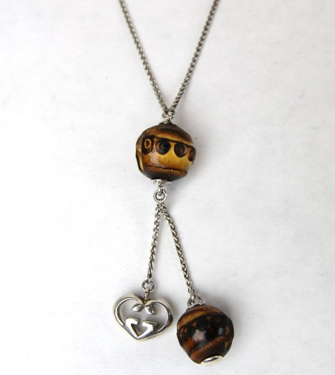 Gucci Gucci 925 Sterling Silver Necklace w/Bamboo Heart Pendant 274178 8169 Image 5