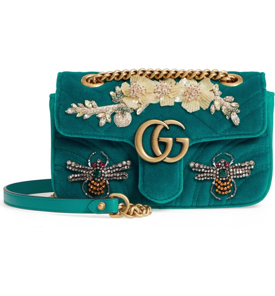 88266723957 Gucci Marmont New Mini Embroidered Mini Pivoine Gg Matelasse Green ...