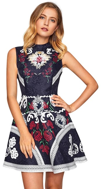 Preload https://img-static.tradesy.com/item/25282548/multicolor-mixed-print-fit-and-flare-jacquard-short-casual-dress-size-6-s-0-1-650-650.jpg