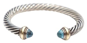 David Yurman 7mm Blue Topaz Silver and Gold Cable Bracelet