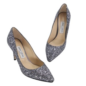Jimmy Choo Party Holiday Vintage Sequin Monogram Ice Blue Pumps