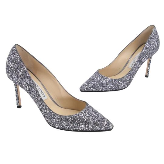Jimmy Choo Party Holiday Vintage Sequin Monogram Ice Blue Pumps Image 1
