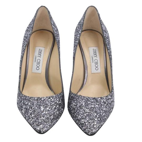 Jimmy Choo Party Holiday Vintage Sequin Monogram Ice Blue Pumps Image 2
